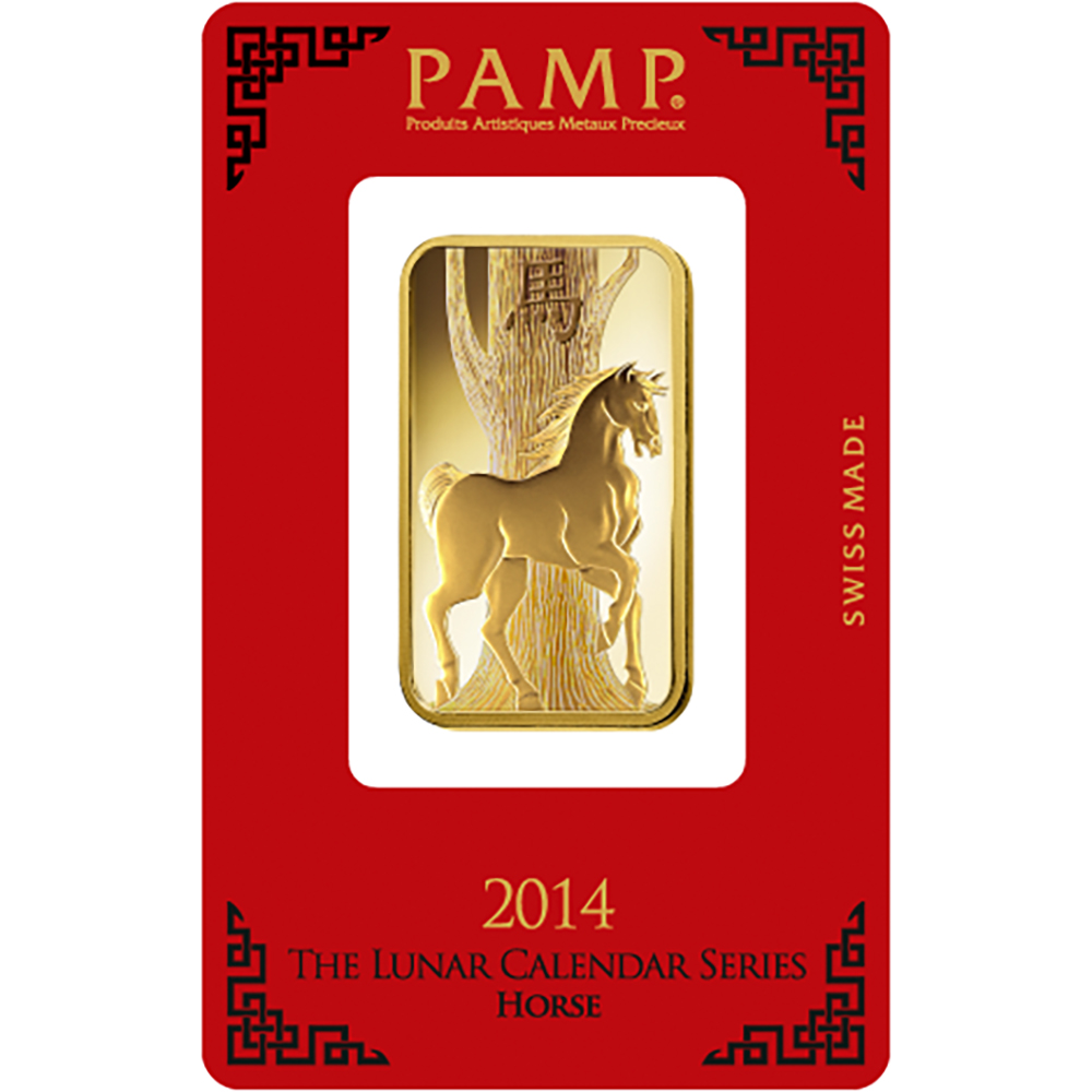 PAMP 2014 Lunar Horse 1oz Gold Bar