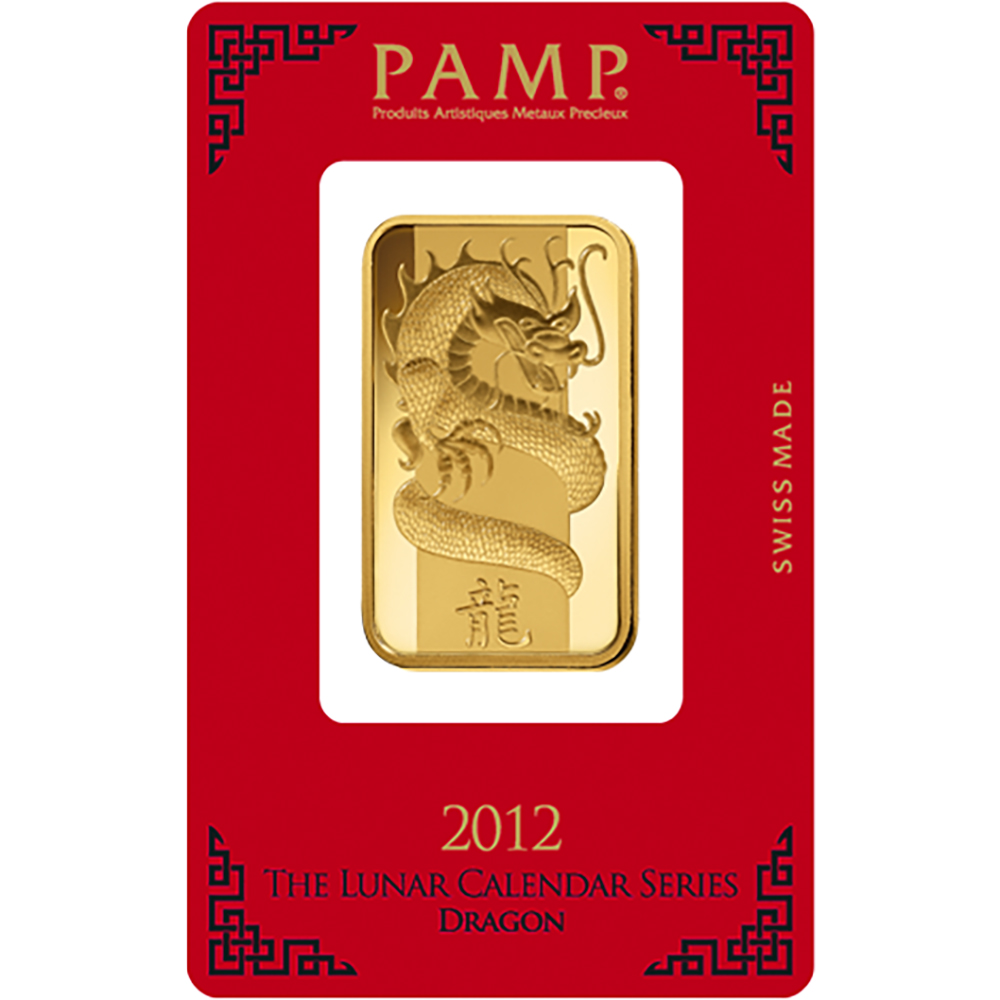 PAMP 2012 Lunar Dragon 1oz Gold Bar