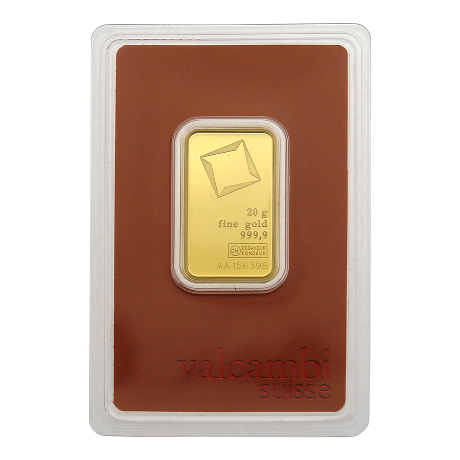 Valcambi 20g Stamped Gold Bar - Scratched Packaging