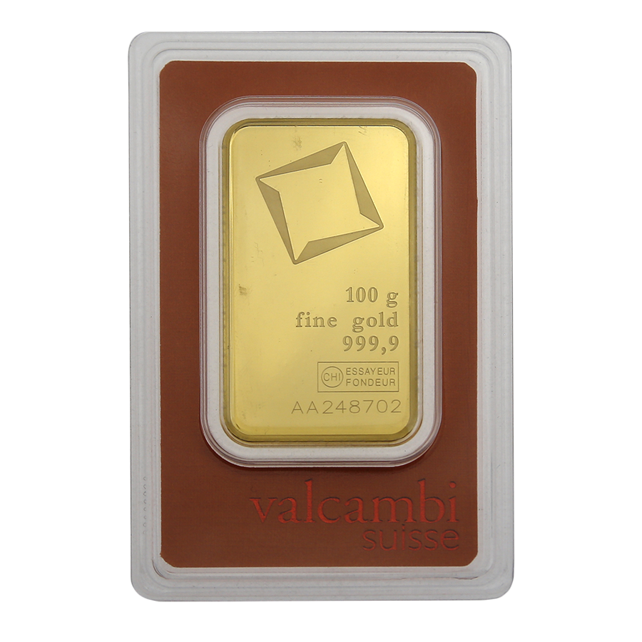 Valcambi 100g Stamped Gold Bar - Scratched Packaging