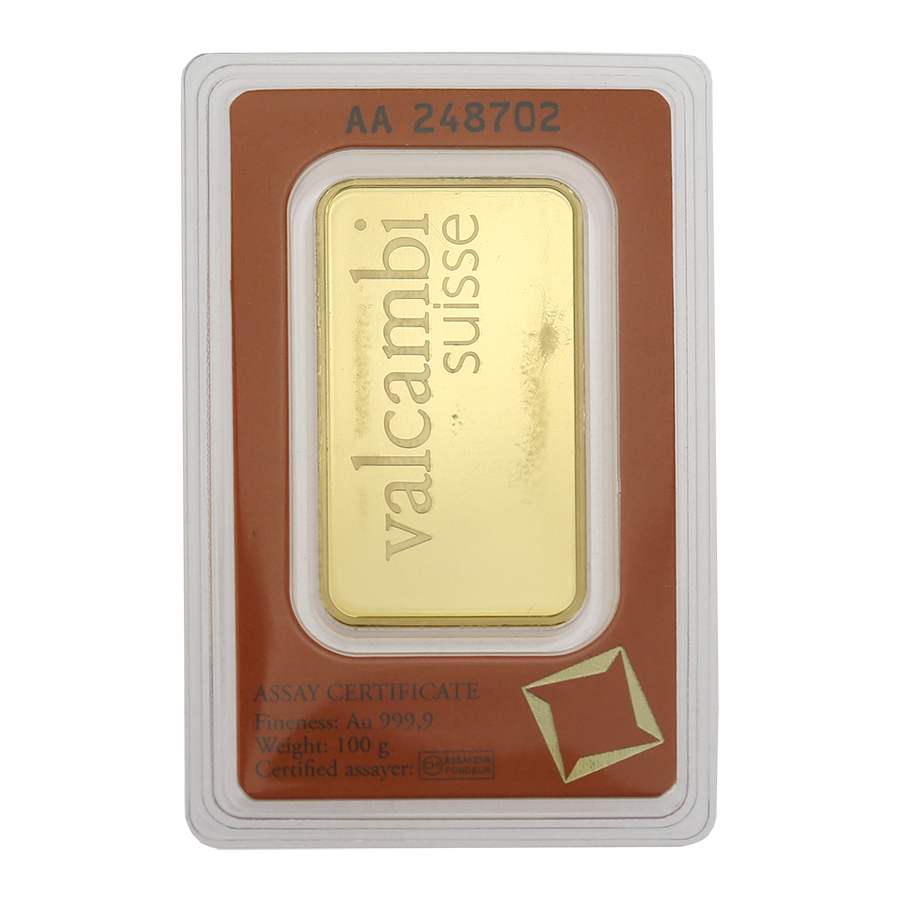 Valcambi 100g Stamped Gold Bar - Scratched Packaging (Image 2)