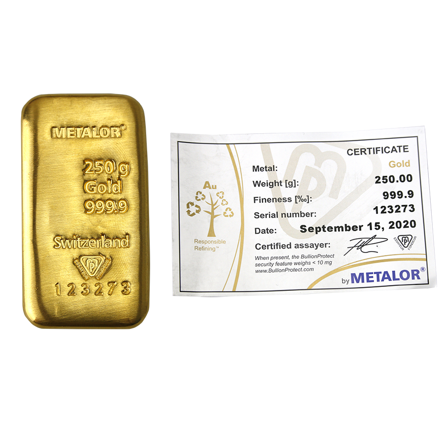 Metalor 250g Gold Cast Bar