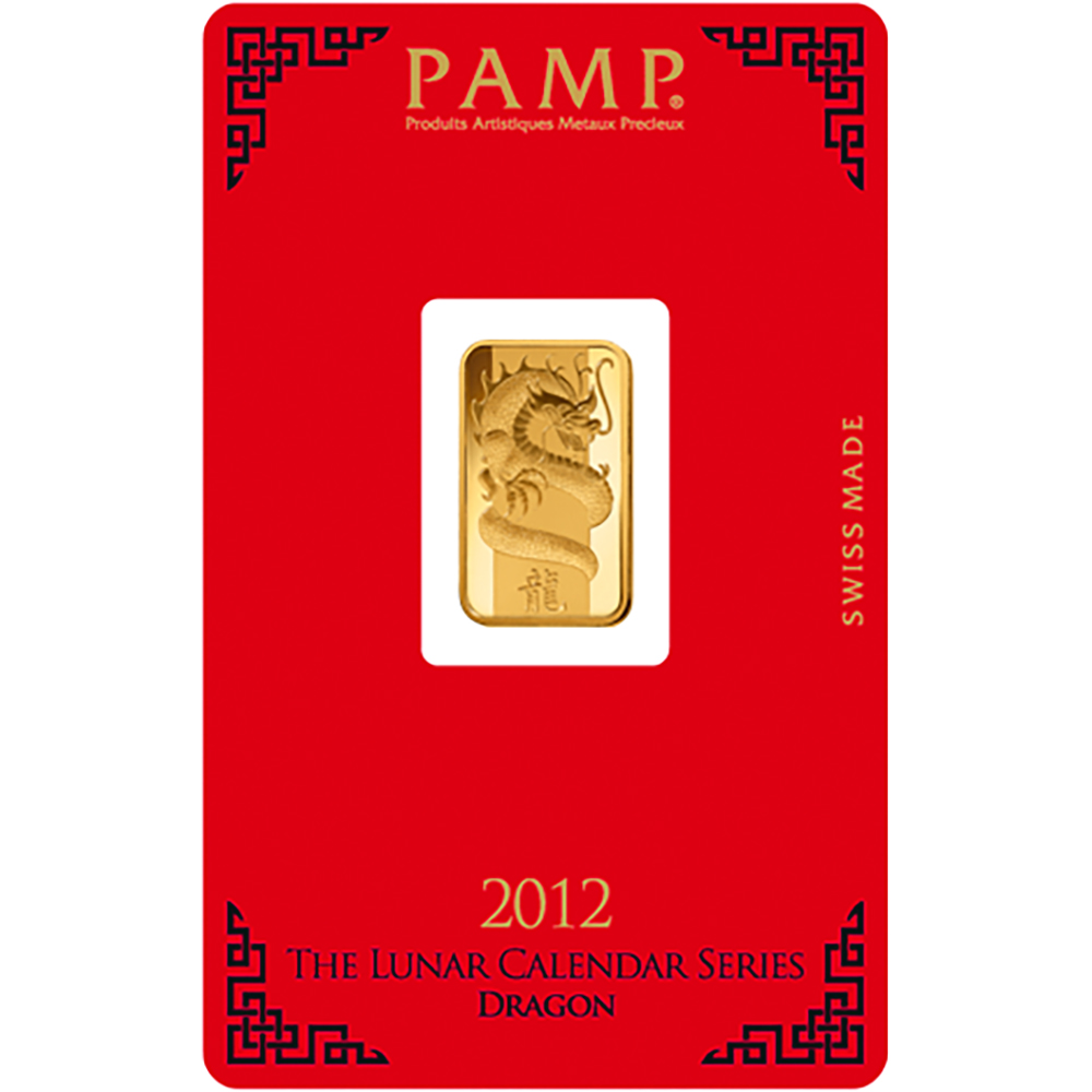 PAMP 2012 Lunar Dragon 5g Gold Bar