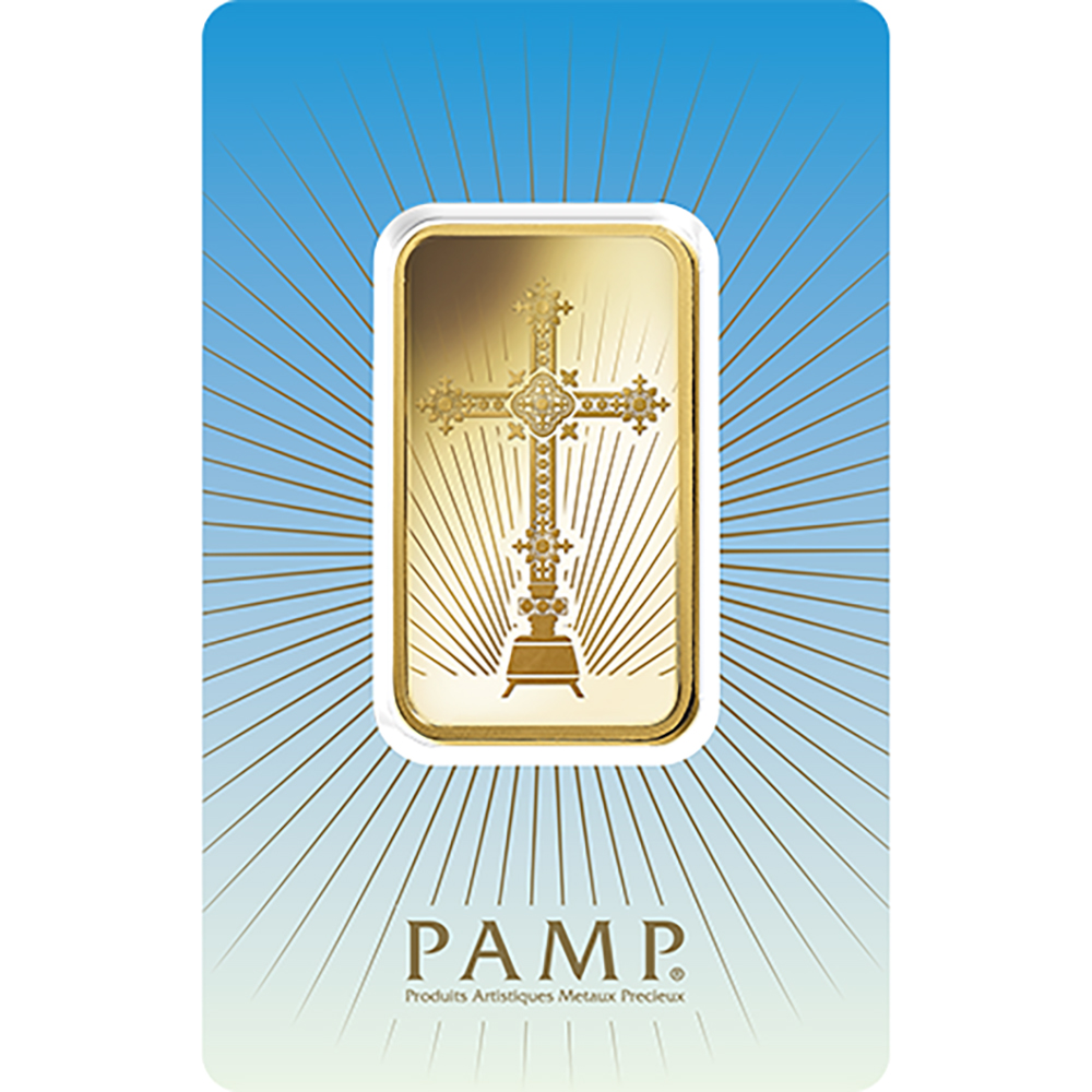 PAMP 'Faith' Romanesque Cross 10g Gold Bar