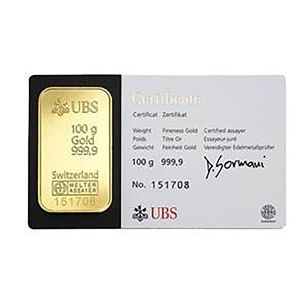 UBS 100g Gold Stamped Bar
