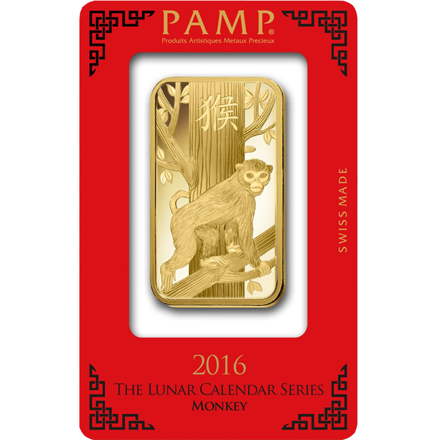 PAMP 2016 Lunar Monkey 100g Gold Bar