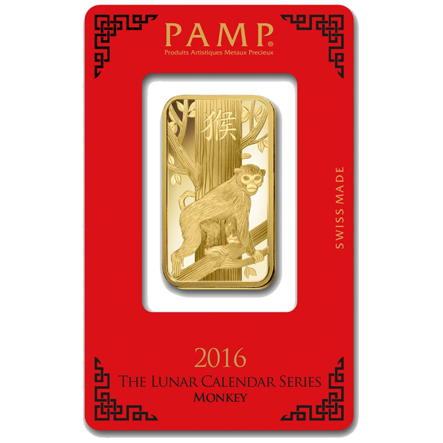 PAMP 2016 Lunar Monkey 1oz Gold Bar
