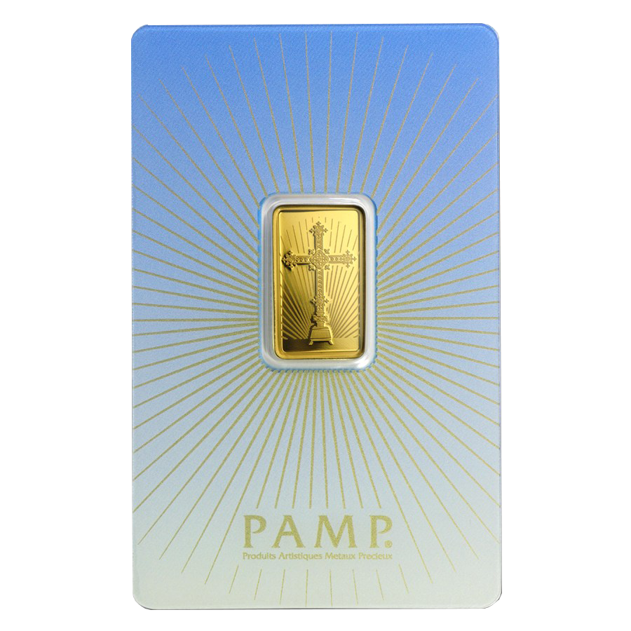 PAMP 'Faith' Romanesque Cross 5g Gold Bar (Image 1)