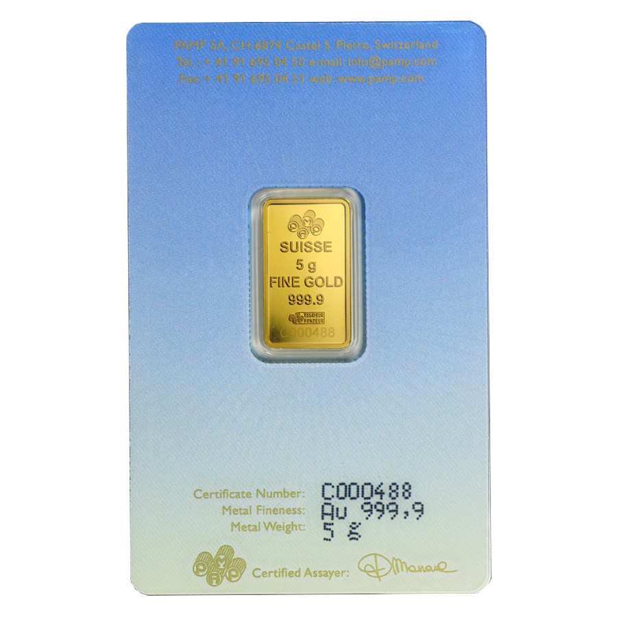 PAMP 'Faith' Romanesque Cross 5g Gold Bar (Image 2)