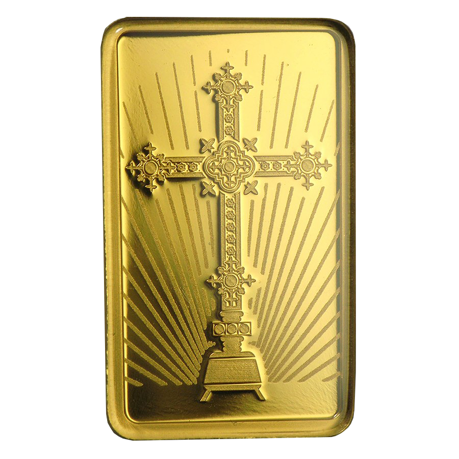 PAMP 'Faith' Romanesque Cross 5g Gold Bar (Image 3)