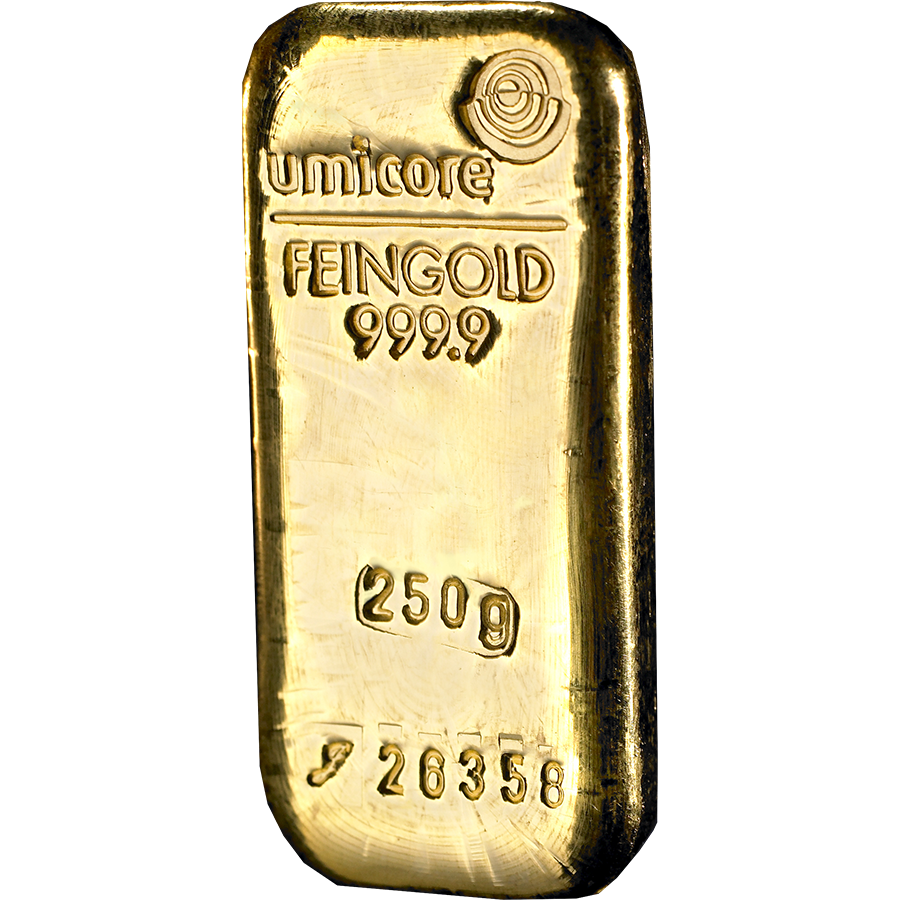 Umicore 250g Gold Cast Bar