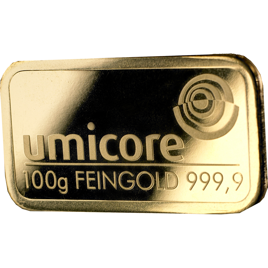 Umicore 100g Gold Stamped Bar