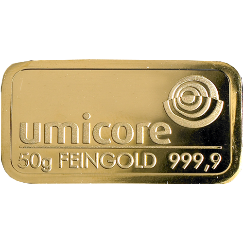 Umicore 50g Gold Stamped Bar