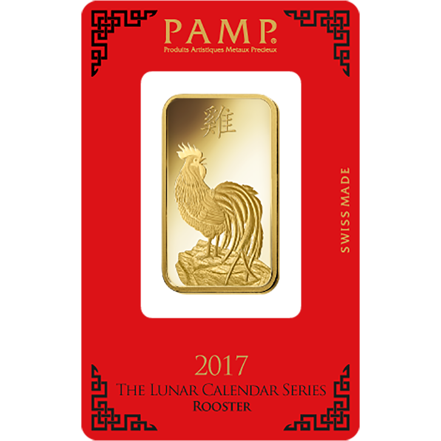 PAMP 2017 Lunar Rooster 1oz Gold Bar