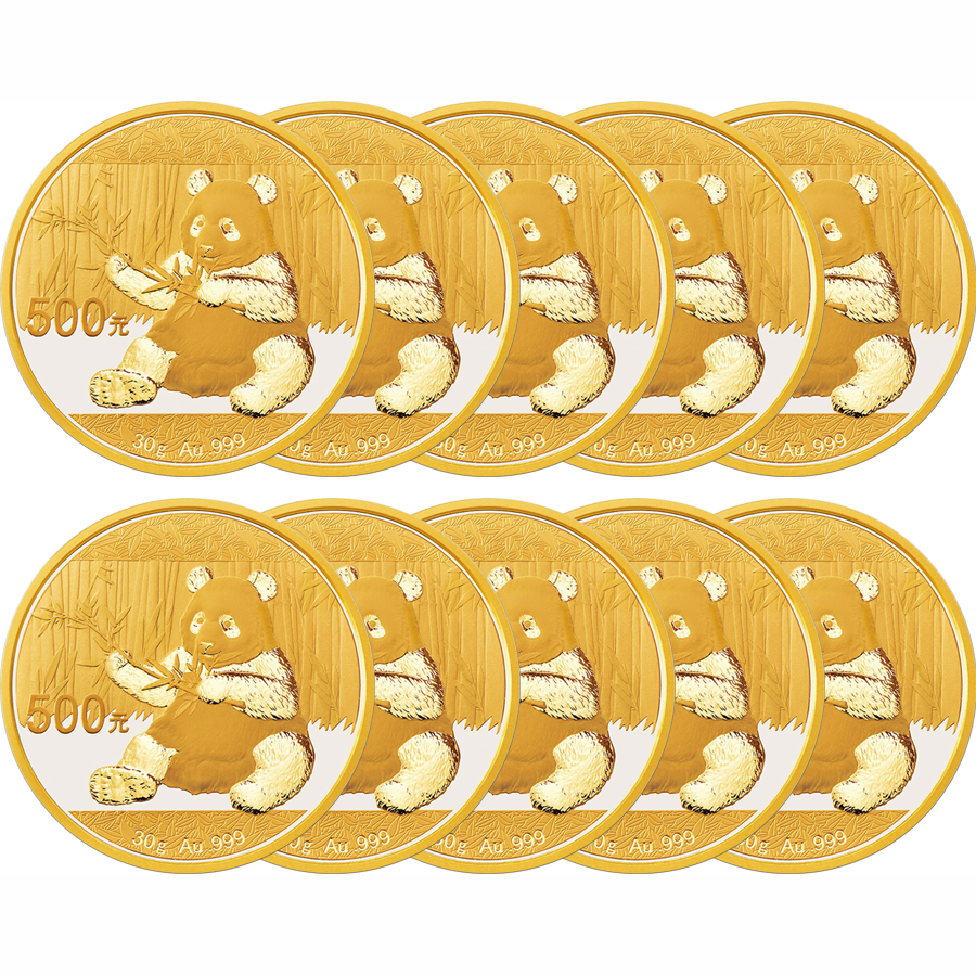 2017 Chinese Panda 30g Gold Coin Sheet - 10 Coins