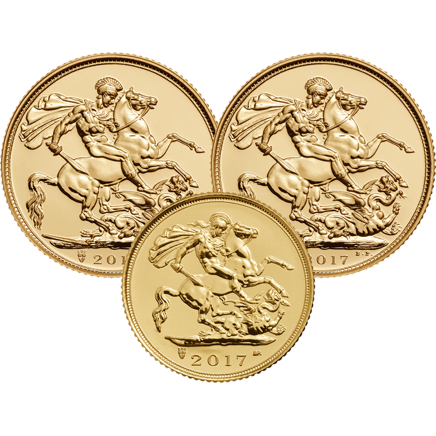 2017 UK 2 x Full Sovereign & 1 x Half Sovereign Gold Coin Collection