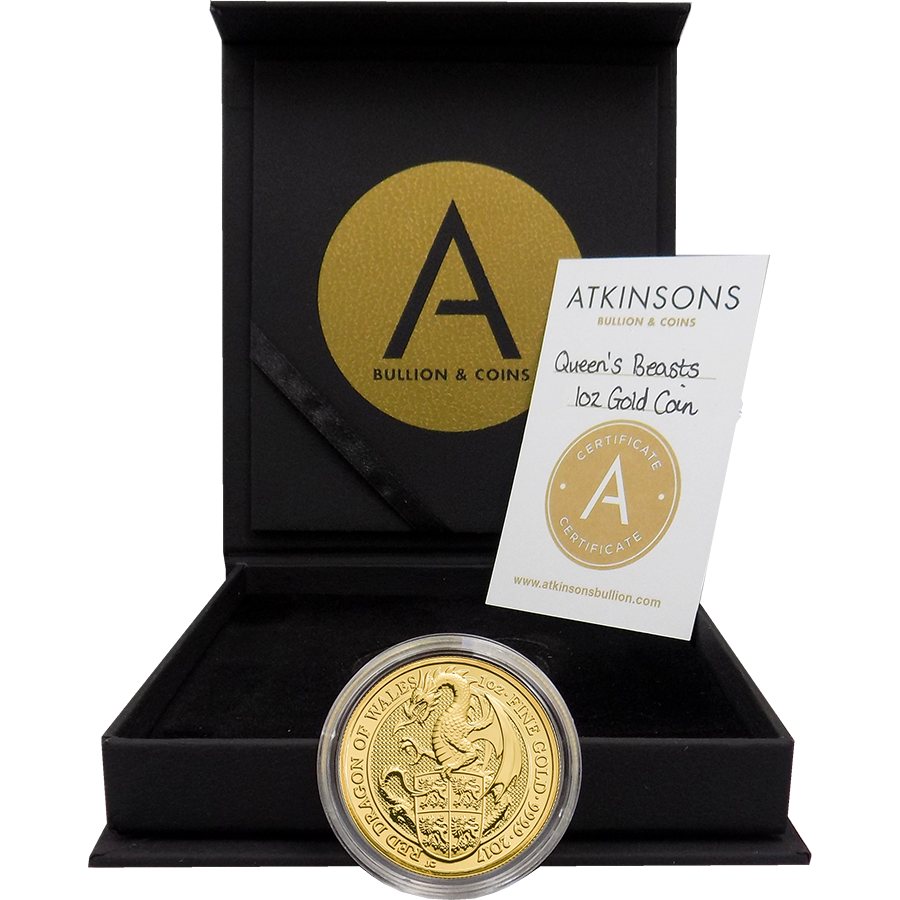 2017 UK Queen's Beasts The Dragon 1oz Gold Coin with Gift Box & Certificate (Image 3)