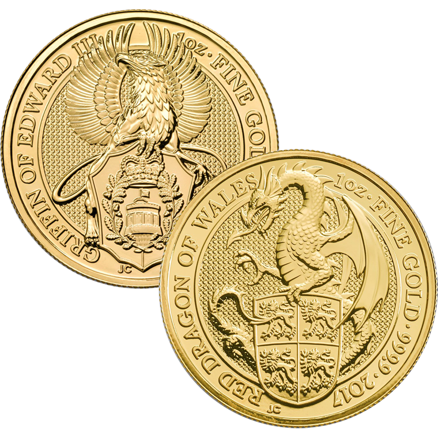 2017 UK Queen's Beasts Griffin & Dragon 1oz Gold Coin Collection