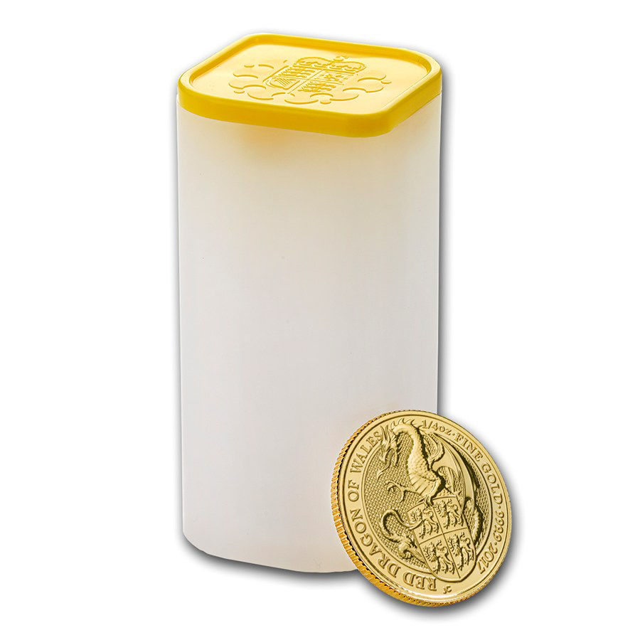 2017 UK Queen's Beasts The Dragon 1/4oz Gold Coins in Tube - (25 Coins)