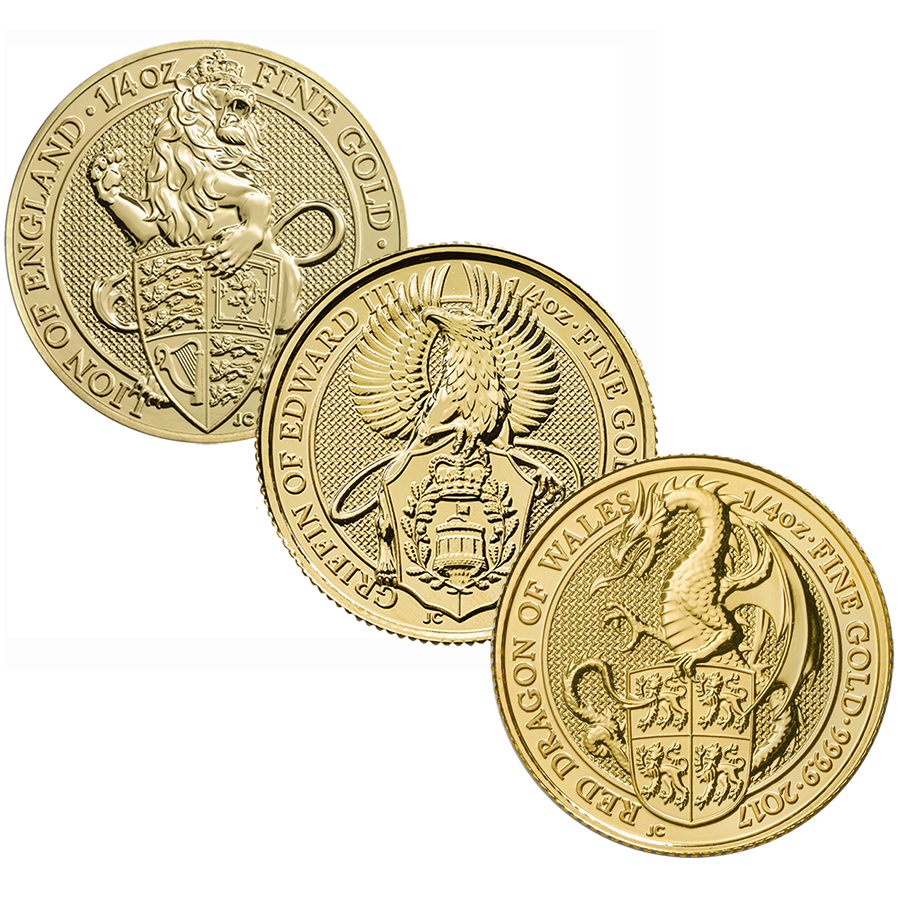 2017 & 2016 Queen's Beasts Lion, Griffin & Dragon 1/4oz Gold 3-Coin Collection