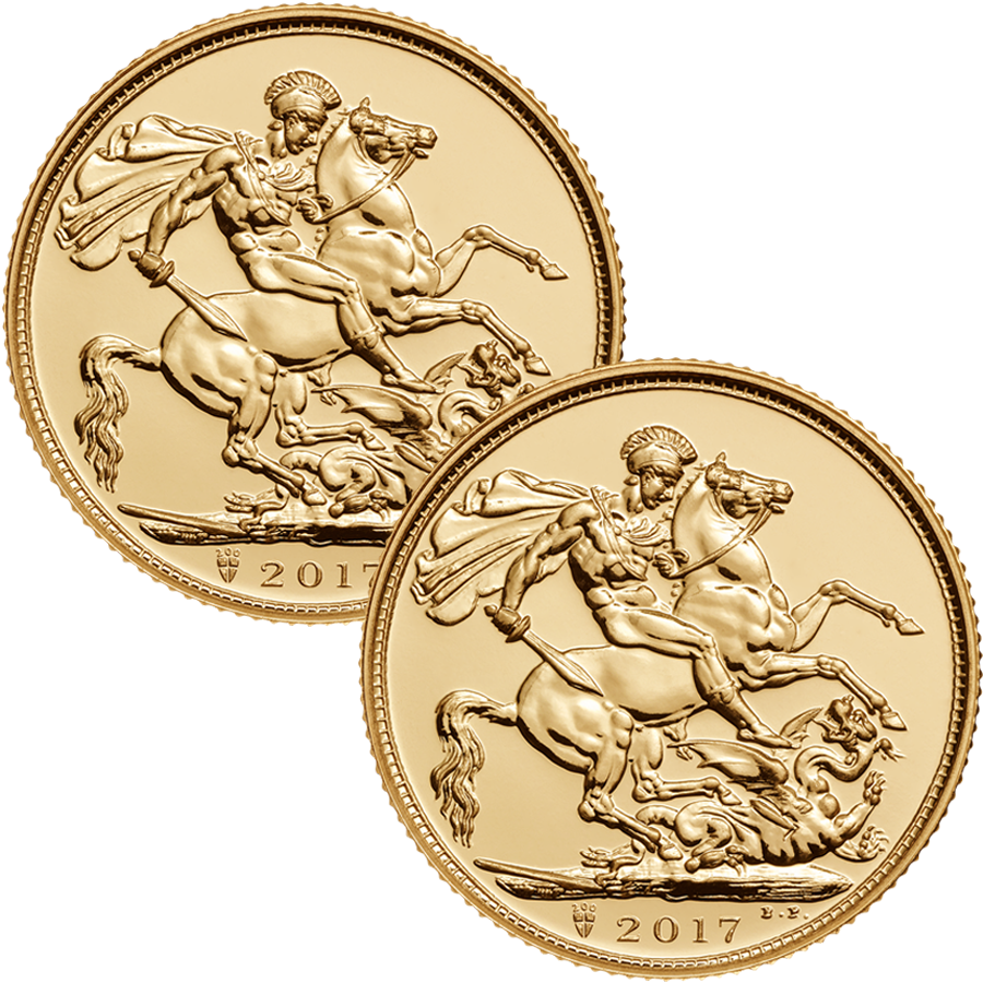 2017 UK Full Sovereign Gold 2 Coin Investment Bundle