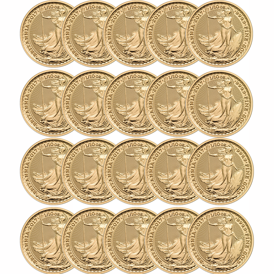 2017 UK Britannia 1/10oz Gold 20 Coin Investment Bundle