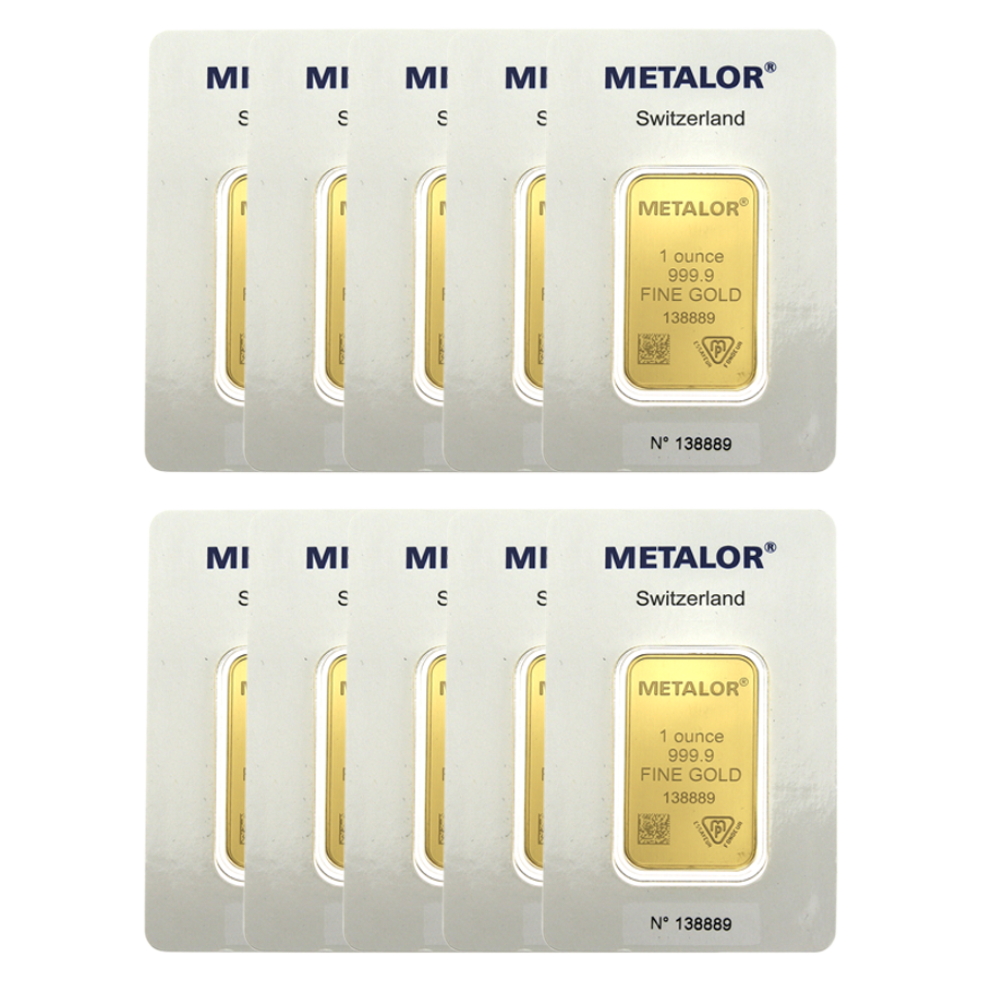 Metalor 1oz Gold 10 Bar Bundle