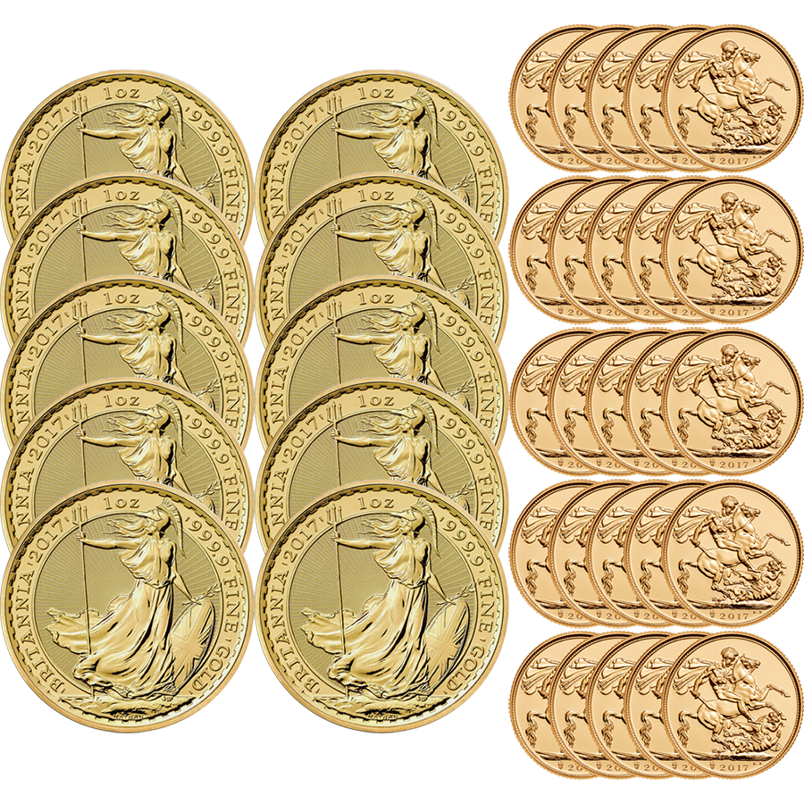 2017 UK 10x Britannia 1oz Gold Coin and 25x Full Sovereign Gold Coin Investment Bundle