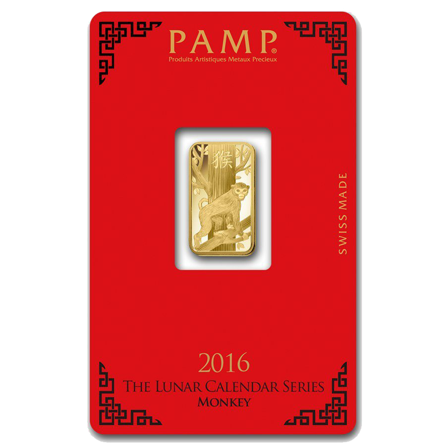PAMP 2016 Lunar Monkey 5g Gold Bar with Gift Box & Certificate (Image 2)