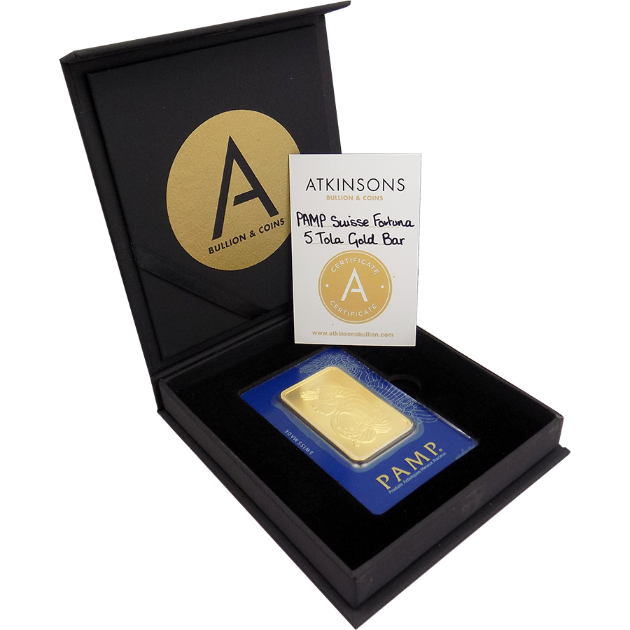PAMP Suisse Fortuna 5 Tola Gold Bar with Gift Box & Certificate