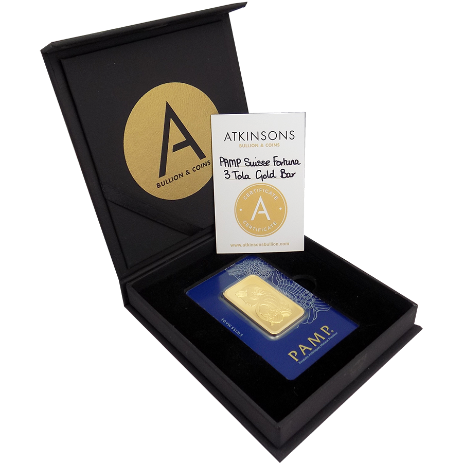 PAMP Suisse Fortuna 3 Tola Gold Bar with Gift Box & Certificate