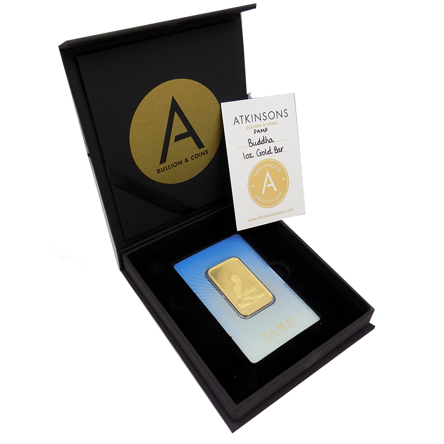 PAMP 'Faith' Buddha 1oz Gold Bar with Gift Box & Certificate