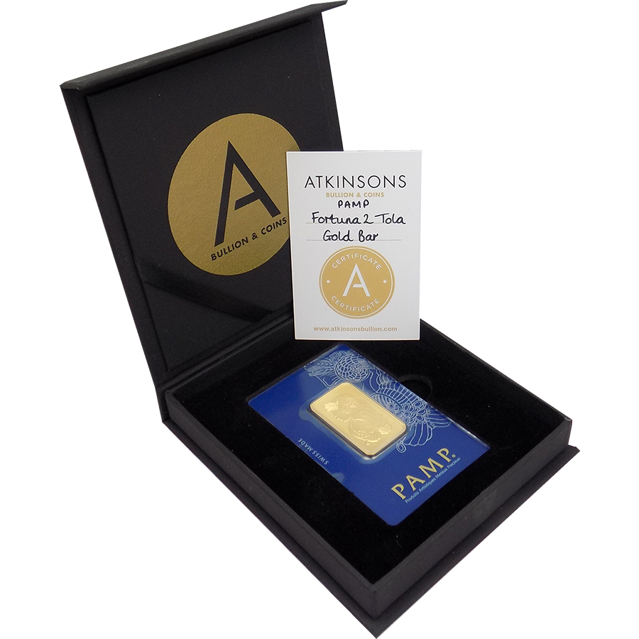 PAMP Suisse Fortuna 2 Tola Gold Bar with Gift Box & Certificate