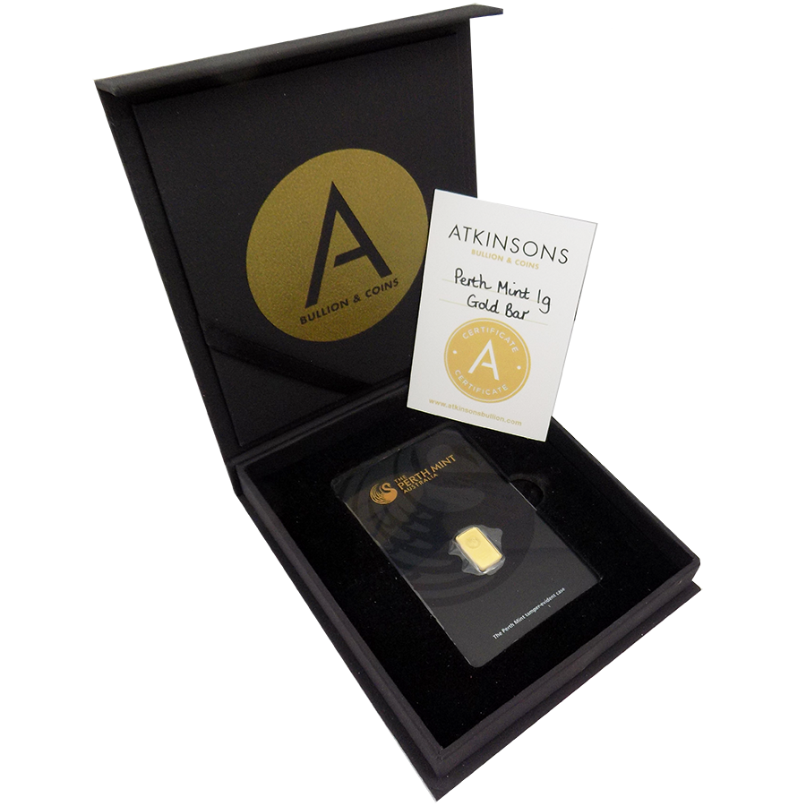 Perth Mint 1g Gold Bar with Gift Box & Certificate