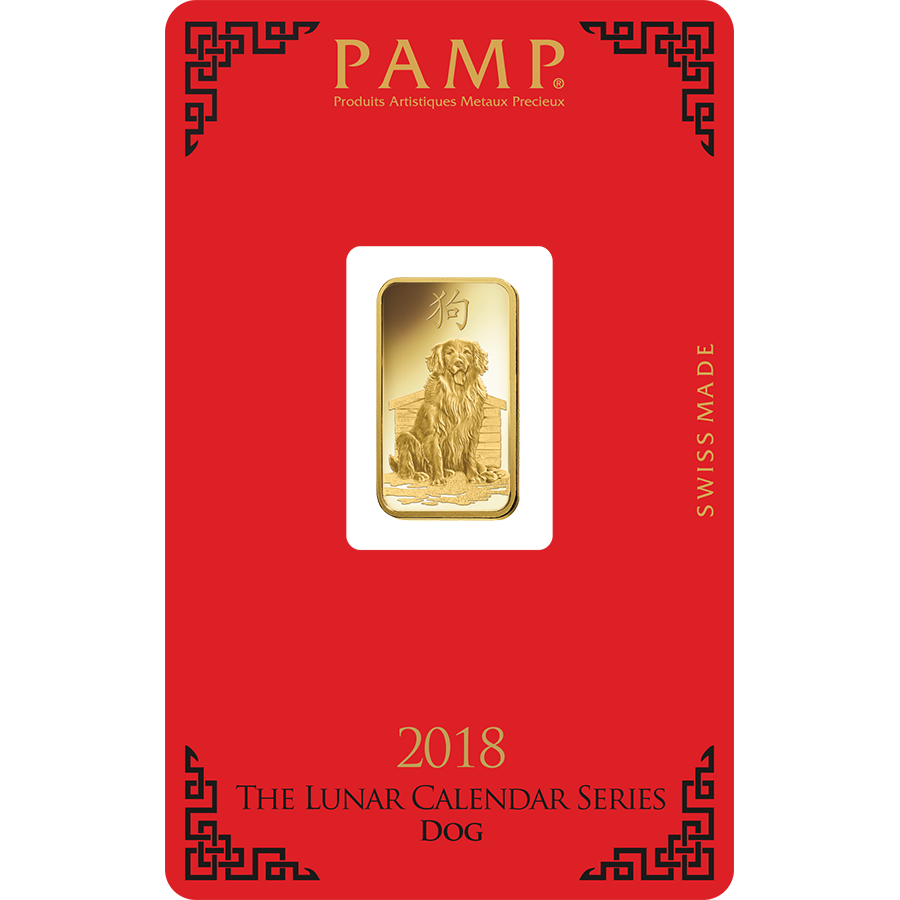 PAMP 2018 Lunar Dog 5g Gold Bar with Gift Box & Certificate (Image 3)