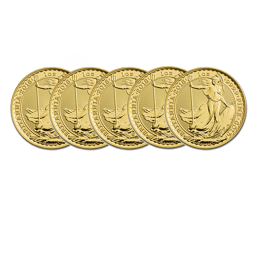 2018 UK Britannia 1oz Gold 5 Coin Bullion Bundle