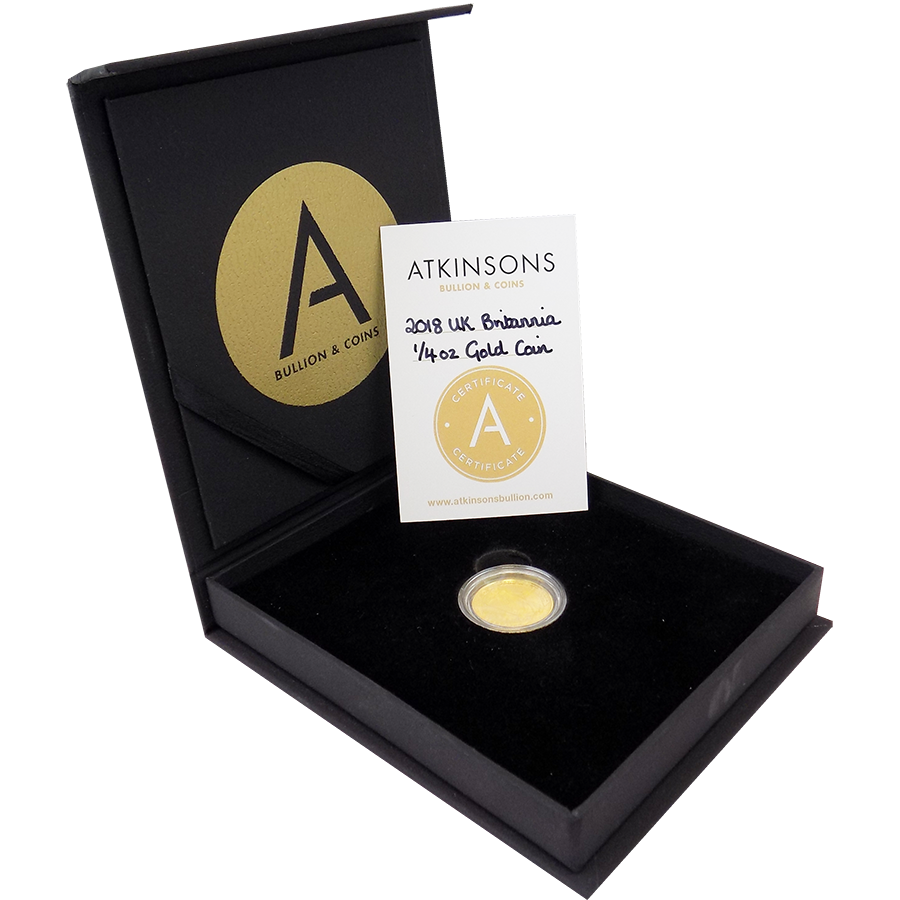 2018 UK Britannia 1/4oz Gold Coin with Gift Box & Certificate