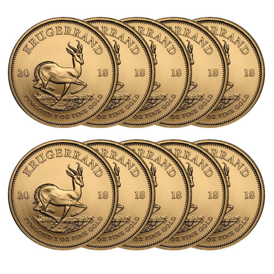 2018 South African Krugerrand 1oz Gold 10 Coin Bundle