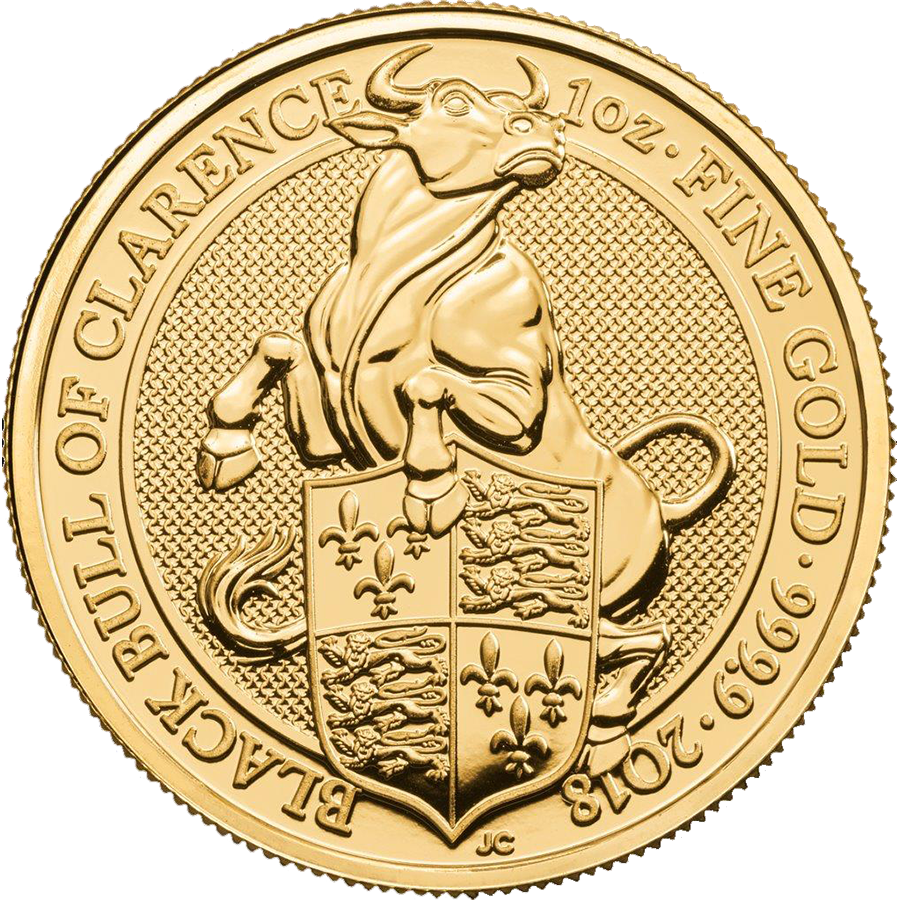 2018 UK Queen's Beasts The Black Bull of Clarence 1oz Gold Coin - Full Tube of 10 Coins (Image 2)