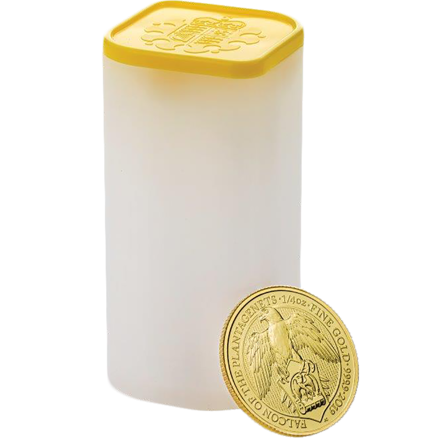 2019 UK Queen's Beasts The Falcon of the Plantagenets 1/4oz Gold Coin - Full Tube of 25 Coins