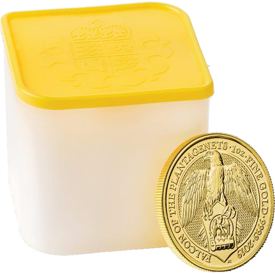 2019 UK Queen's Beasts The Falcon of the Plantagenets 1oz Gold Coin - Full Tube of 10 Coins (Image 1)