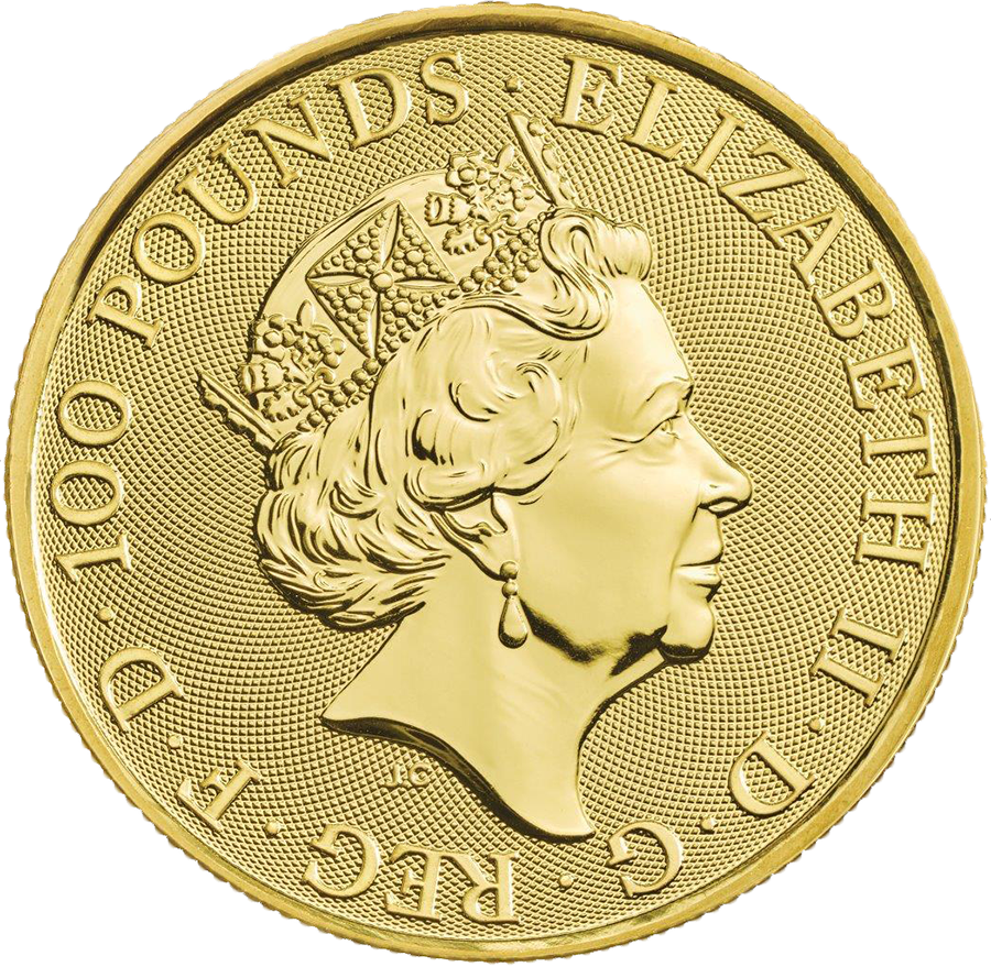 2019 UK Queen's Beasts The Falcon of the Plantagenets 1oz Gold Coin - Full Tube of 10 Coins (Image 3)