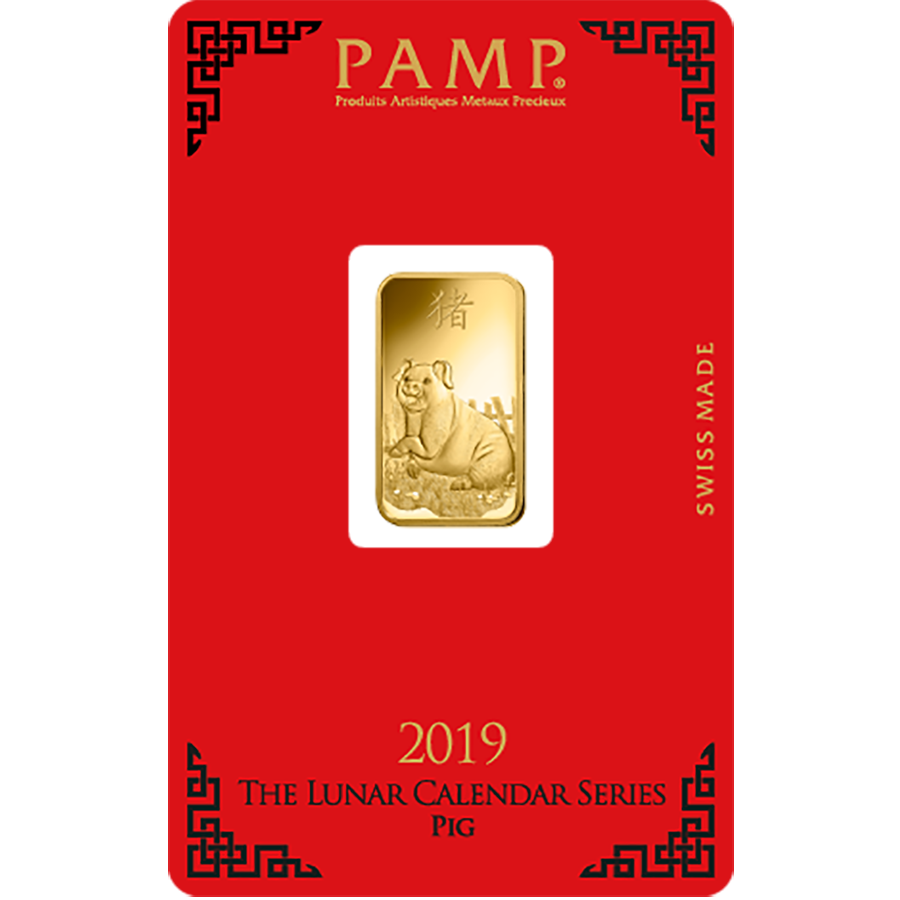PAMP 2019 Lunar Pig 5g Gold Bar with Gift Box & Certificate (Image 2)