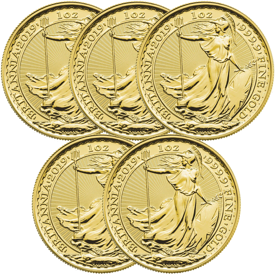 2019 UK Britannia 1oz Gold 5 Coin Bullion Bundle (Image 1)