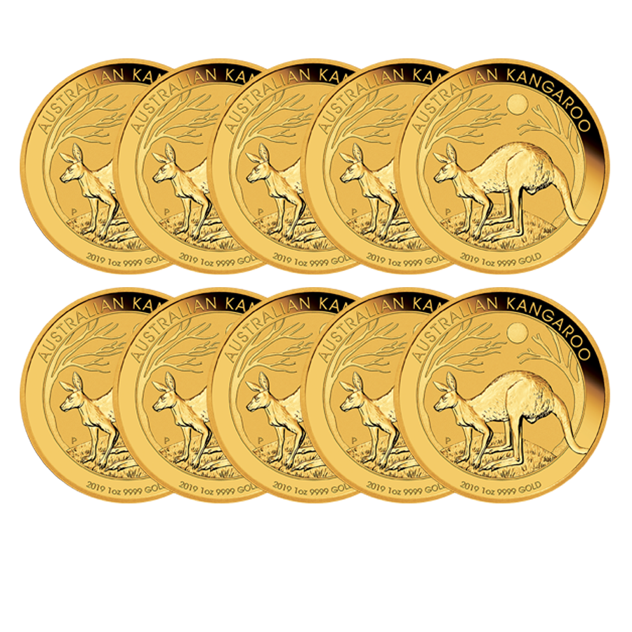 2019 Australian Kangaroo 1oz Gold - Roll of 10 Coins