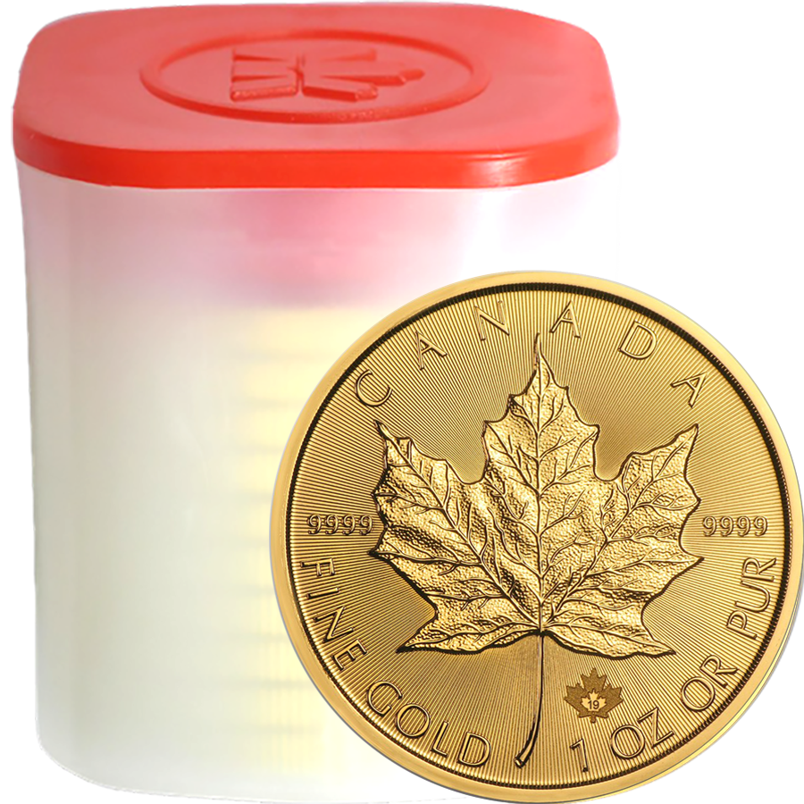 2019 Canadian Maple 1oz Gold Coins - Full Tube of 10 Coins