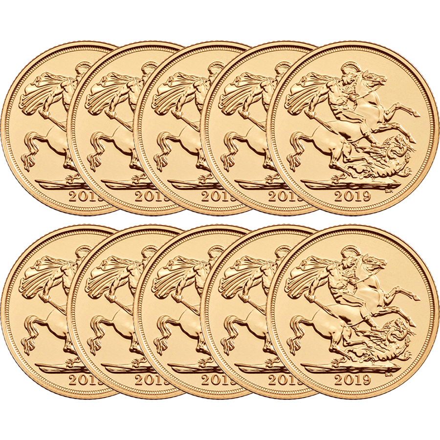 2019 UK Full Sovereign Gold 10 Coin Bullion Bundle (Image 1)