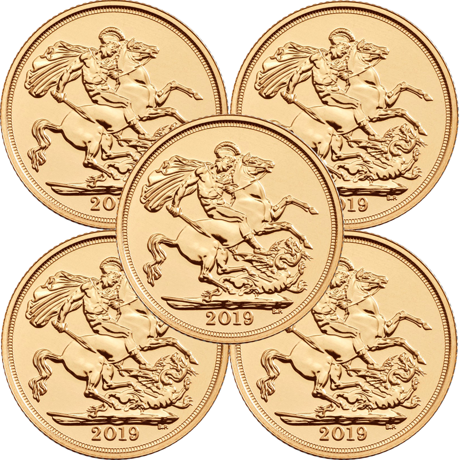 2019 UK Full Sovereign Gold 5 Coin Bullion Bundle