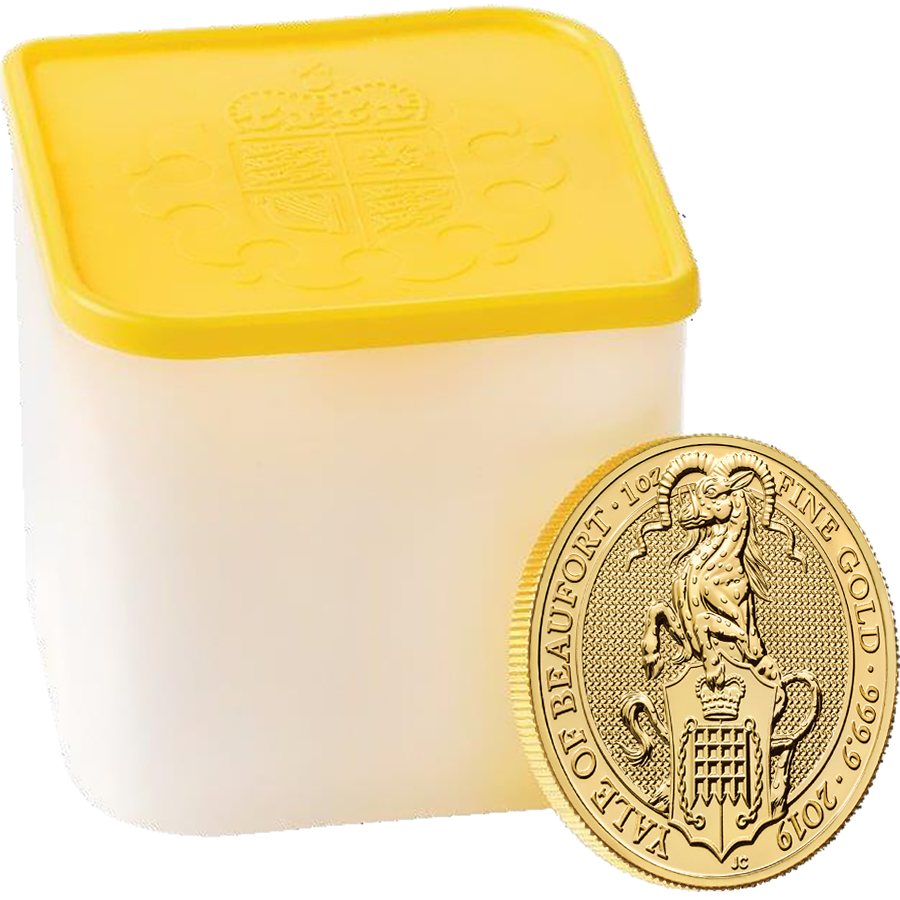 2019 UK Queen's Beasts The Yale of Beaufort 1oz Gold Coin - Full Tube of 10 Coins (Image 1)