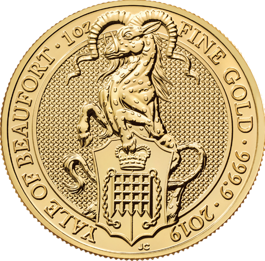 2019 UK Queen's Beasts The Yale of Beaufort 1oz Gold Coin - Full Tube of 10 Coins (Image 2)